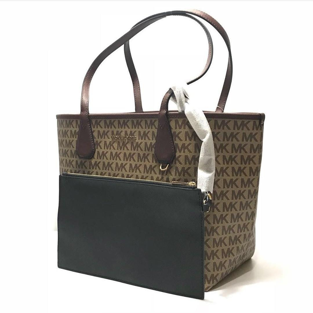 MK Candy Large Reversible Tote (Beige-Ebony-Black) size 30-46x26,5x17,5cm