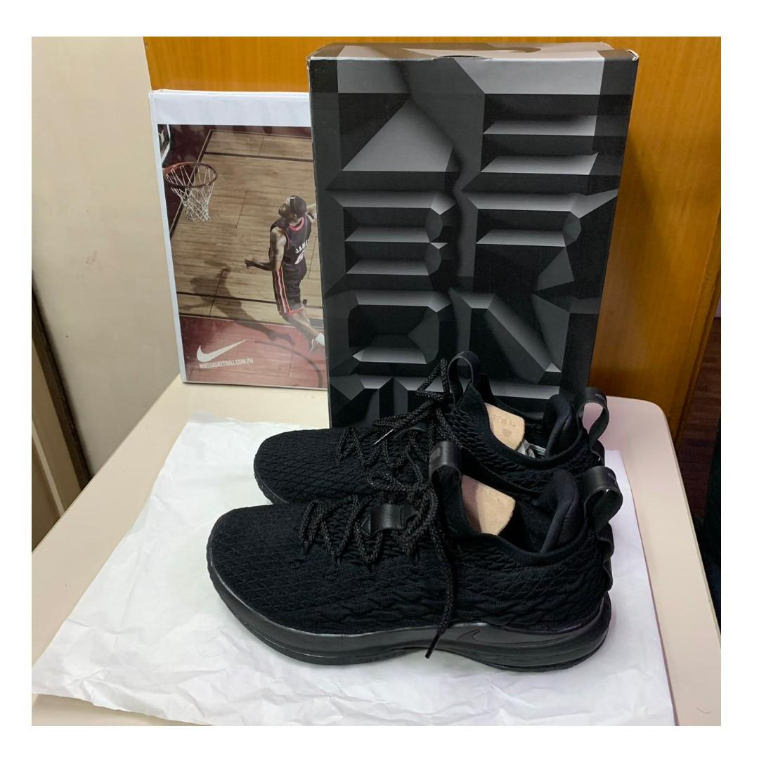 check out b112a e44e6 Nike Lebron 15 Low Triple Black for Sale on Carousell