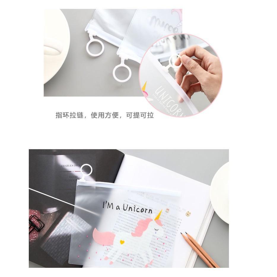 [Pre order]Unicorn Zipper Pencil Case Stationery Transparent Travel
