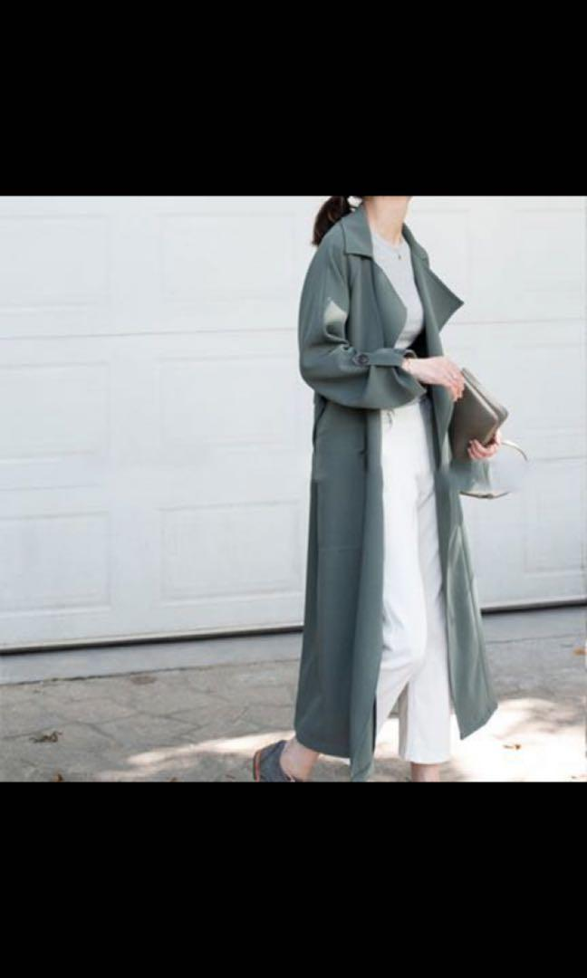 Teal trench coat