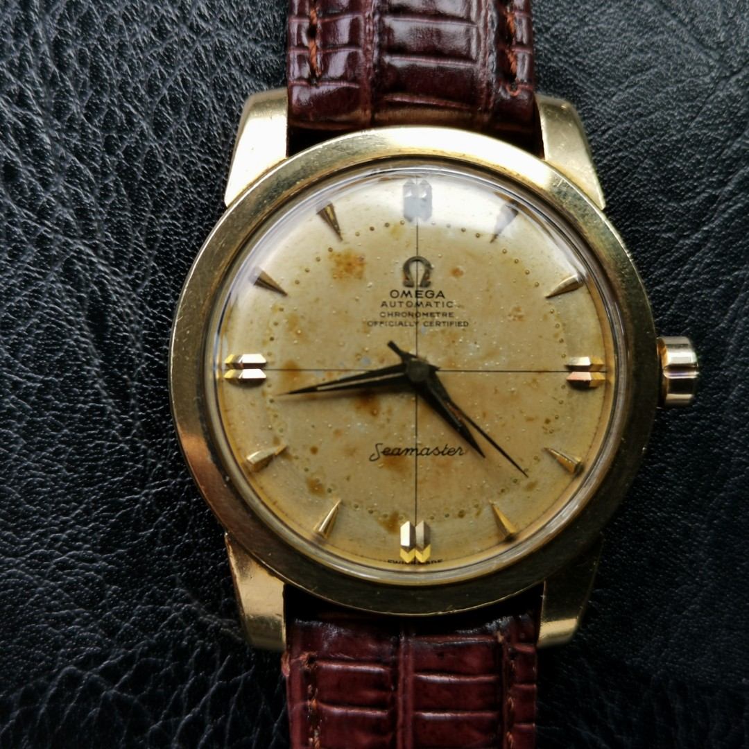Vintage Omega Seamaster Chronometer Watch 18k Solid Gold Casing 35mm