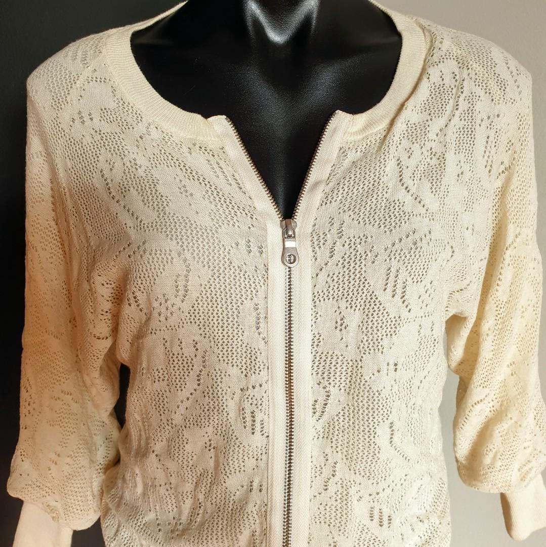 Women's size S 'WITCHERY' Stunning beige summer zip jacket- AS NEW