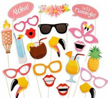 🚚 Flamingo theme photo booth props
