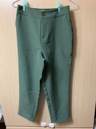 韓國設計墨綠色超挺版老爺九分西裝褲 OL 上班 上學 文青風