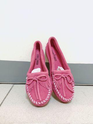 Minnetonka 莫卡辛 麂皮 粉紅色平底鞋 6.5(24.5cm)