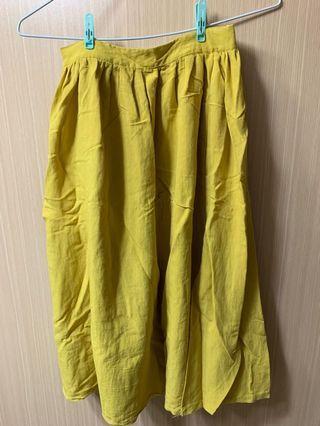 芥末黃七分長裙