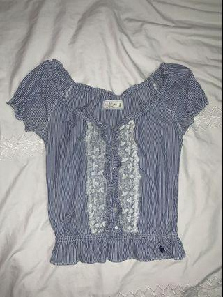 Abercrombie & Fitch Ruffled Striped Top