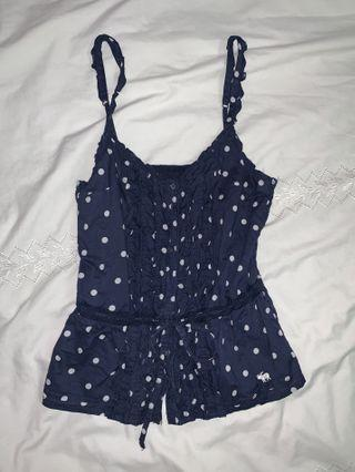 Abercrombie & Fitch Blue Polka Dots Tank Top