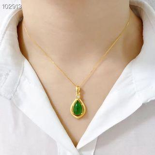 Real 999 pure gold with Hetian jasper necklace