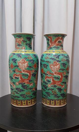 A pair of chinese dragon vase