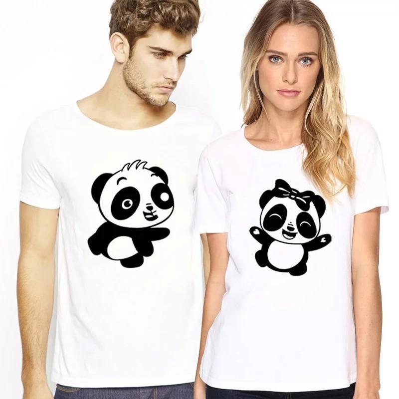 100% Cotton T-shirt Women Cartoon Print Panda Couple T Shirt for Lovers Summer New Short-sleeved O-neck T-shirt Plus Size Tops