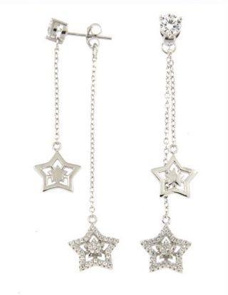 Sterling 925 Silver Twin Stars #style Earrings
