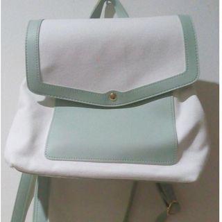Miniso tas ransel sling bag white green #HBDSale