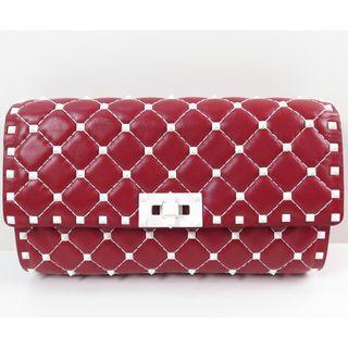Valention Garavani Free Rockstuds Red Spike Chain Clutch Shoulder Bag PW2B0137RVH