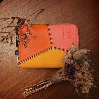 <二手良品> LOEWE Puzzle Zip 6 Card Holder Orange/Mandarin 拉鍊 中夾 招財 卡夾