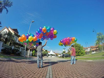 Multi colour helium balloon with delivery