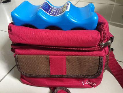 V cool cooler bag with ice brick