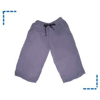 休閒七分藍色柔軟寬褲