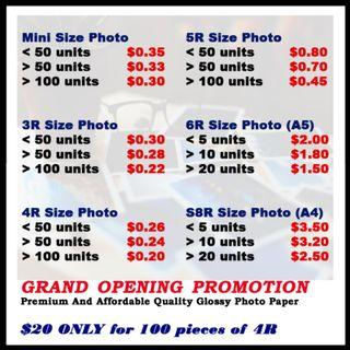 Customised Photo Printing 3R, 4R, 5R, 6R & S8R, Mini (Affordable & Premium)