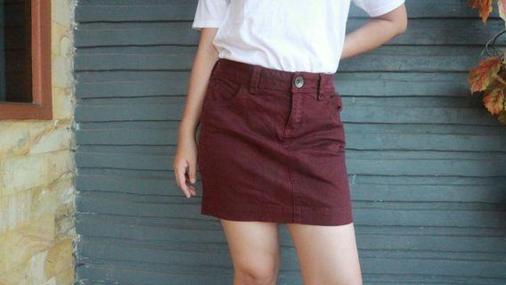 Maroon Mini Denim Skirt