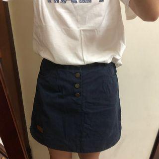 藍色鬆緊短裙