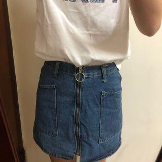 拉鍊牛仔短裙