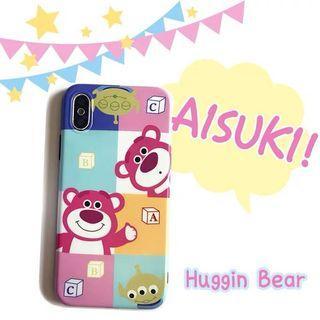 《預購》蘋果手機-迪士尼玩具總動員Toystory 粉紅可愛熊抱哥三眼怪手機殼