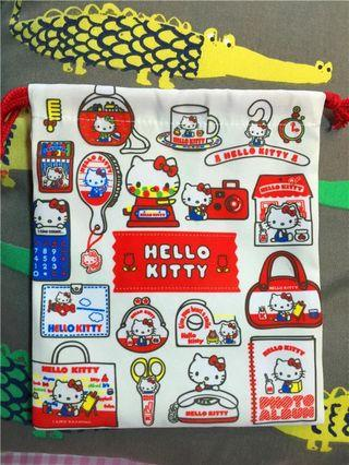 Hello kitty 超厚實帆布 束口袋 45週年限定
