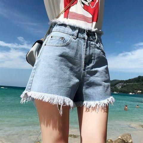 高腰短褲牛仔褲鬚邊闊腿褲復古藍