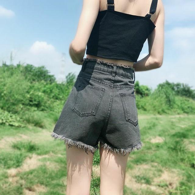 高腰短褲牛仔褲鬚邊闊腿褲深藍色