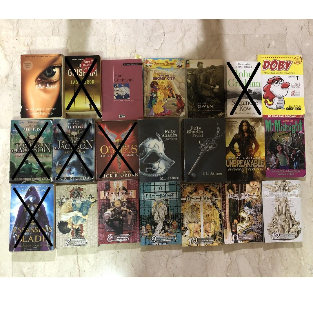 Books. Fifty Shades. Percy Jackson. Manga.