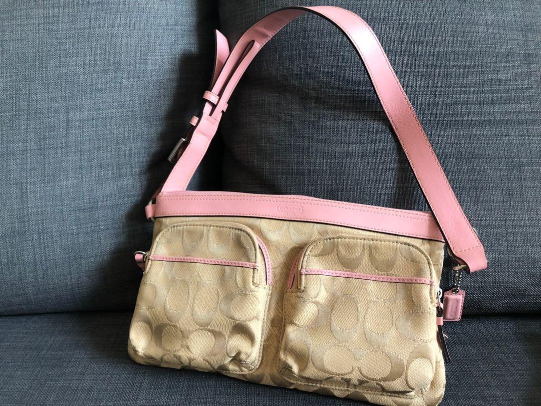 COACH粉紅側揹袋#sellmybags