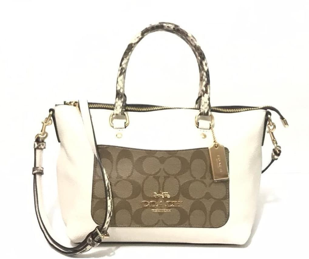Coach f34281 mini emma satchel exotic khaki multi sz 30/23×19 x12