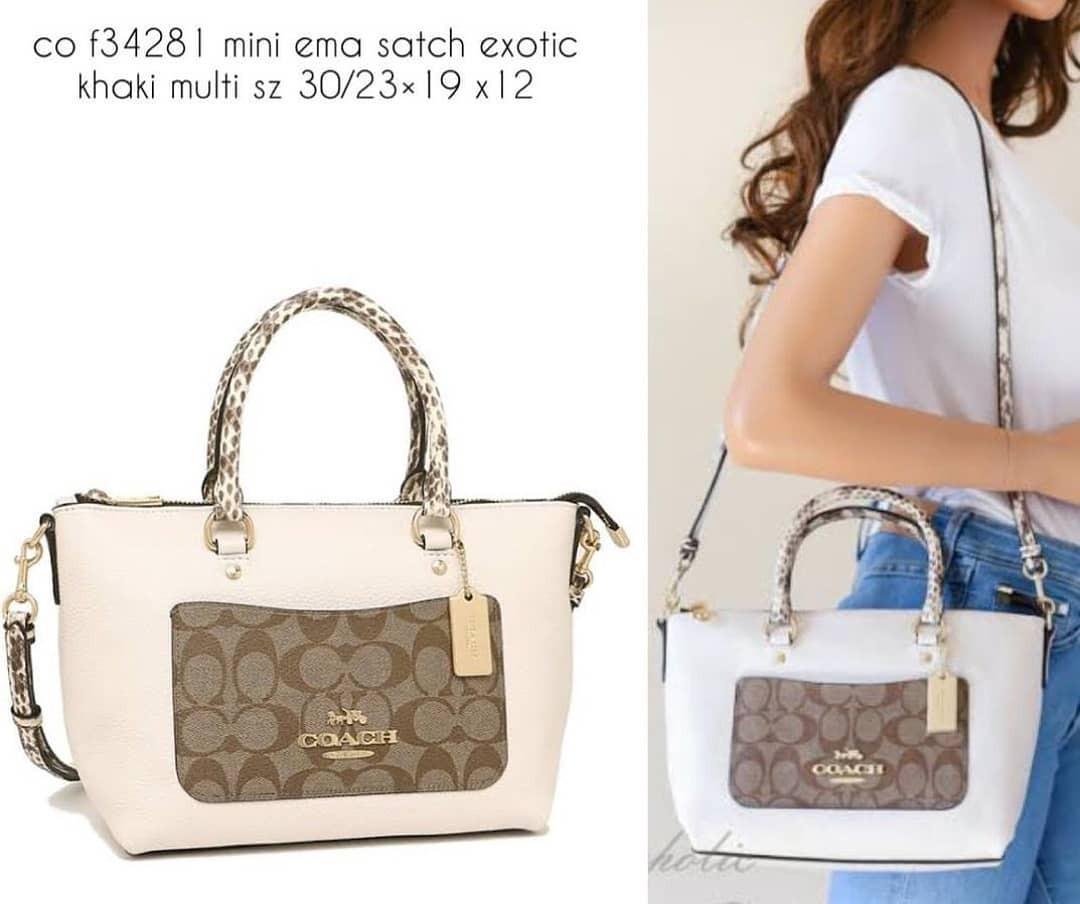 Coach f34281 mini emma satchel exotic khaki multi sz 30/23×19 x12