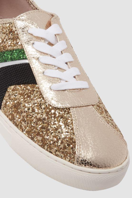 Cosmoparis Gold Glitter Sneakers Size 39 worn once