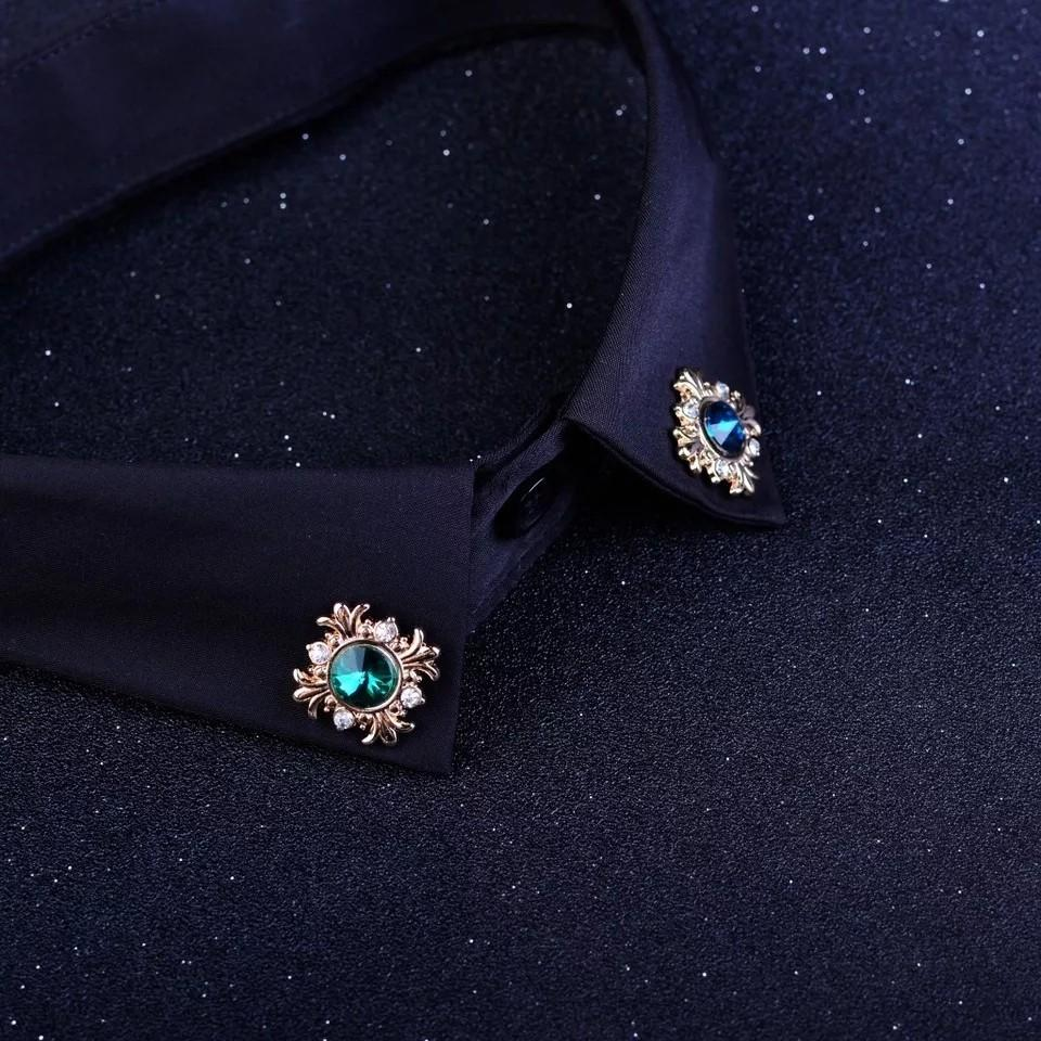 Fashion Crystal Suit Lapel Pin Rhinestone Brooch Button Shirt Collar