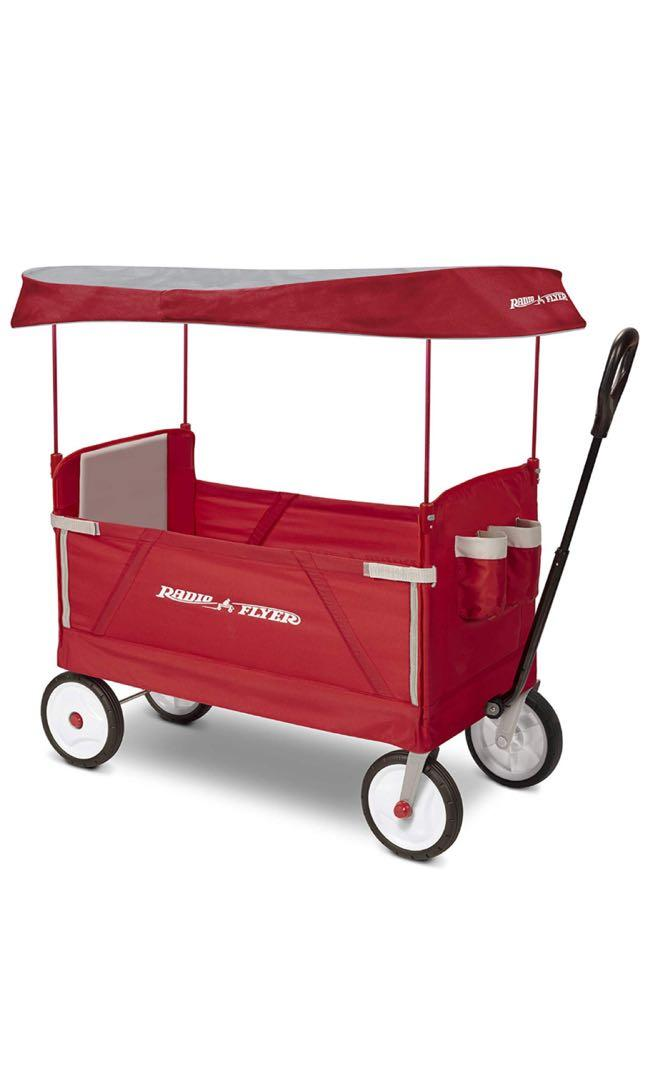 Radio Flyer 3 In 1 Ez Folding Wagon With Canopy For Kids And