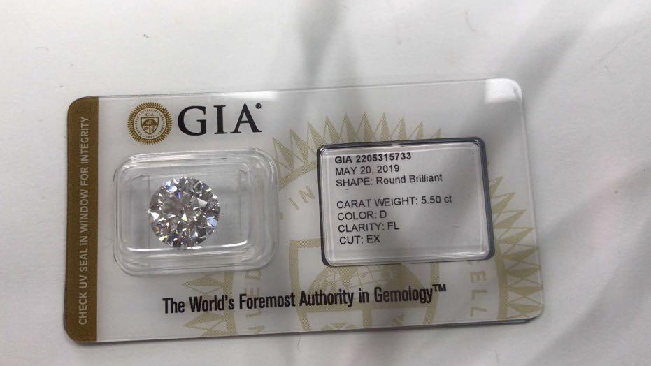 GIA: 5.5ct D-FL 3exnone Type IIa 純美級鑽石 💎收藏之選 $300萬👍🔥🌟😍🉐️