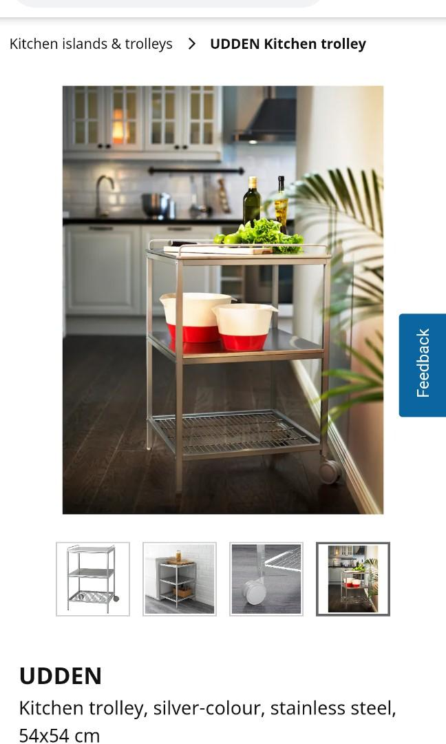 Ikea Udden Stainless Steel Kitchen Trolley Furniture Shelves Drawers On Carousell