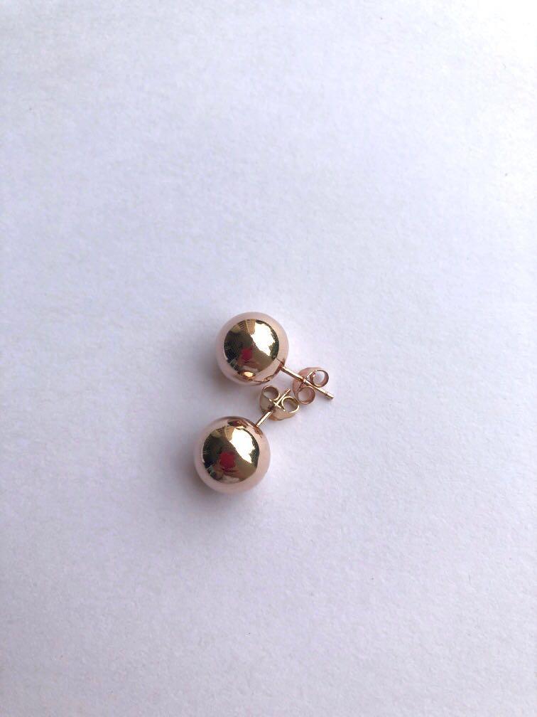 Italian Rose gold Sterling 925 Silver Big Stud Earrings