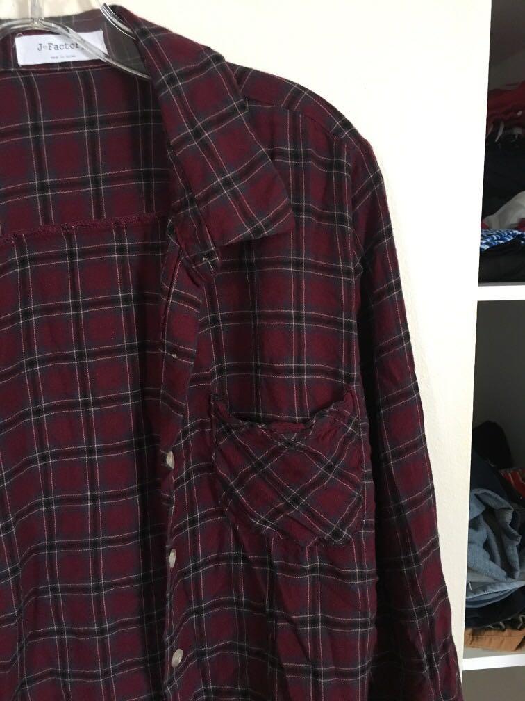 J-FACTORY Plaid Shirt