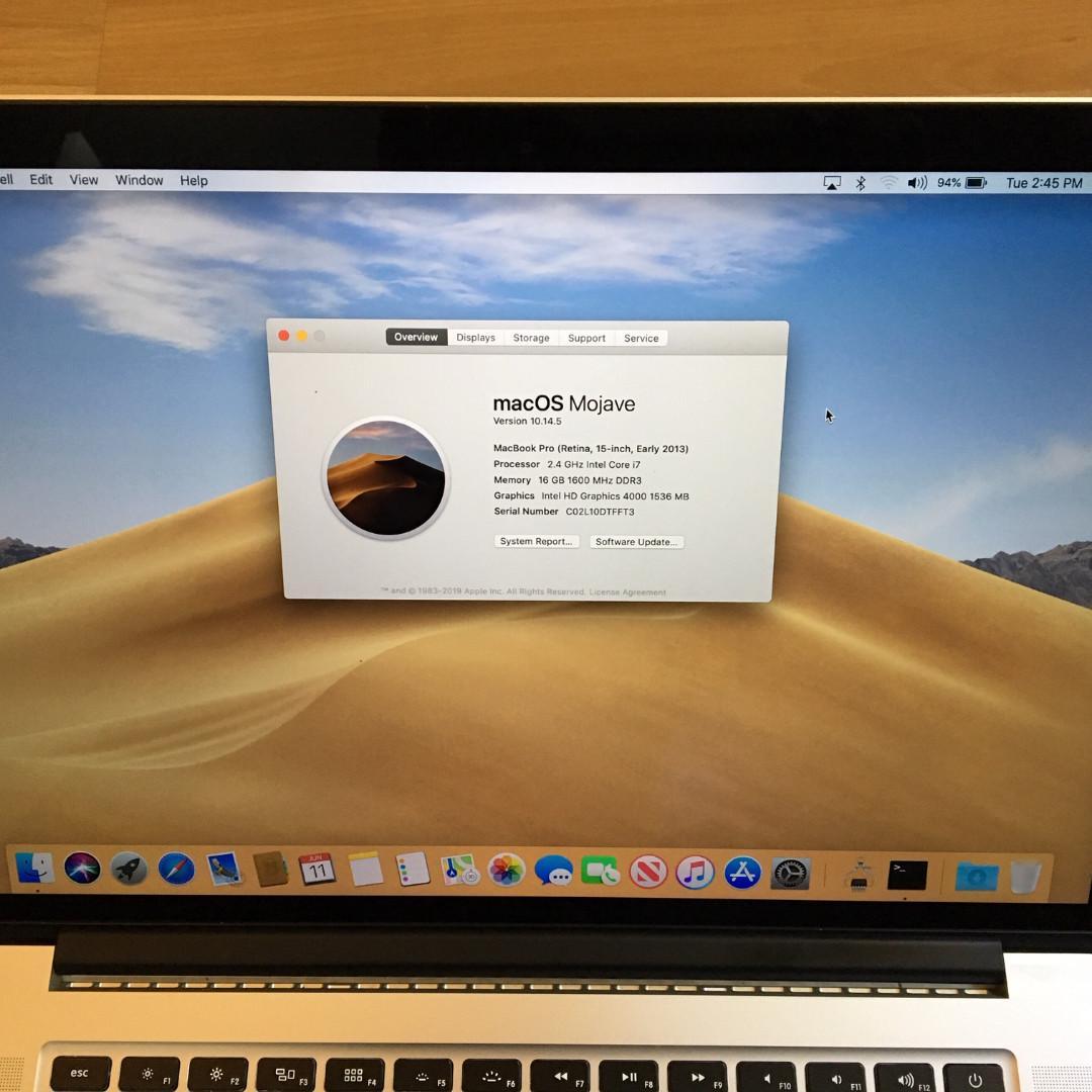 """Macbook Pro i7 Quad 2.4ghz to 3.4ghz 15"""" Retina 16gb ram 256gb SSD"""