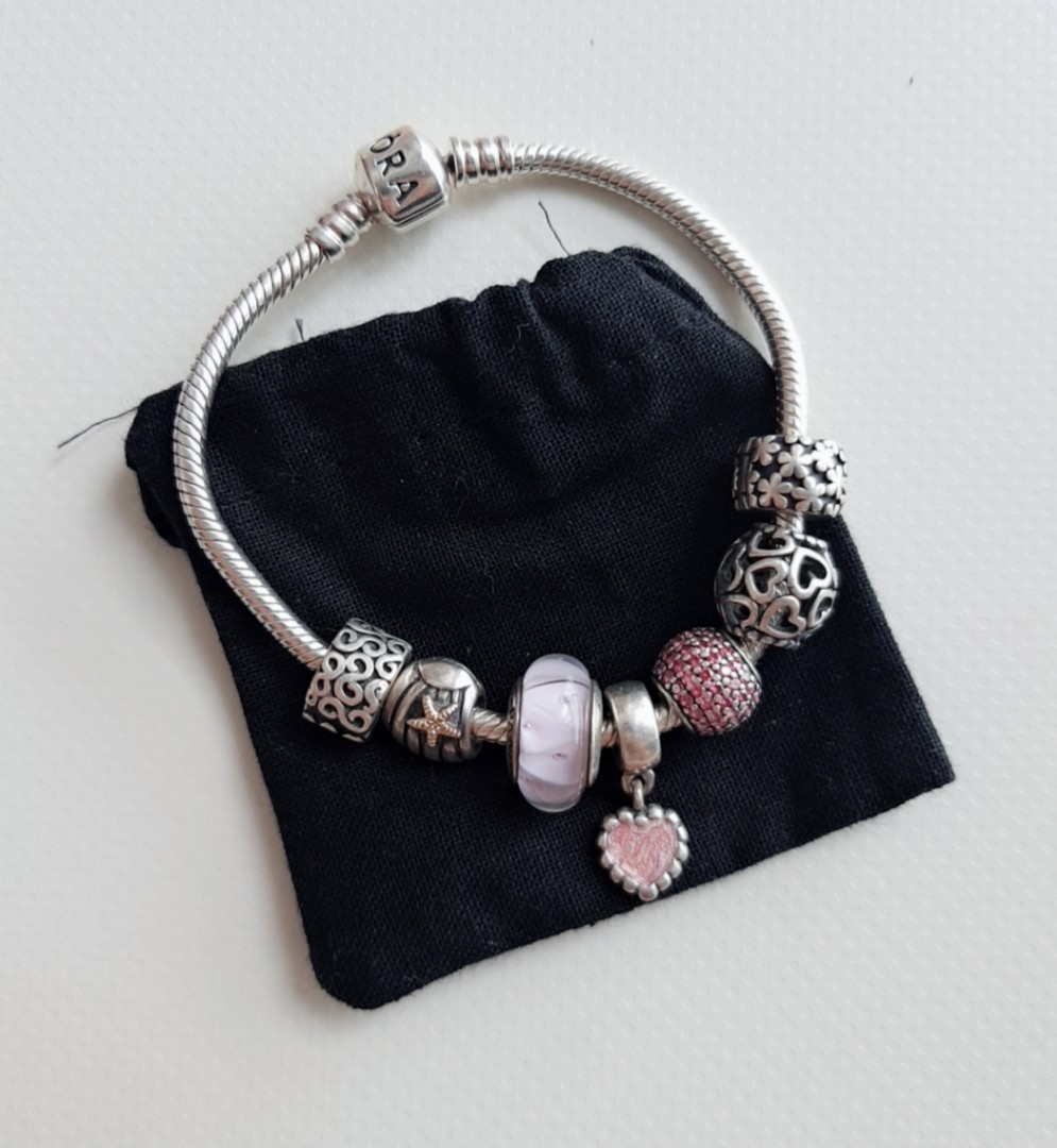 Pandora Bracelet 7 Charms Pink Color Theme Luxury Accessories On Carousell