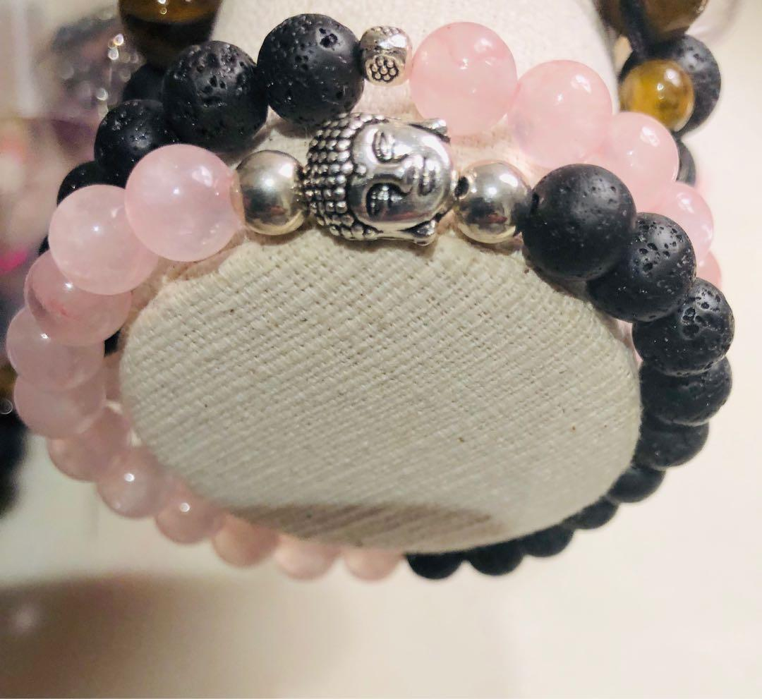 Set of Rose Quartz Buddha Lava Stone Diffuser Bracelets