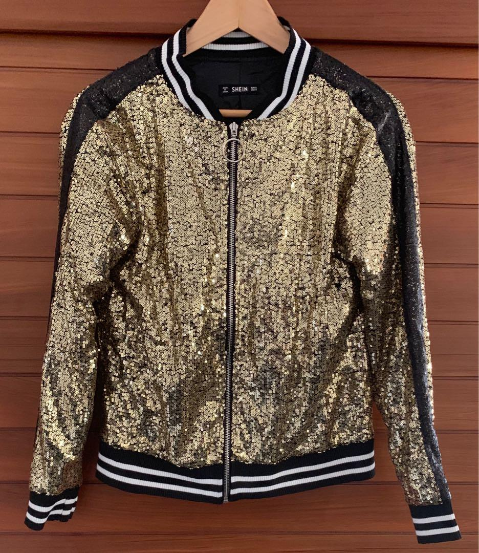 Shein gold & black sequence bomber jacket Size S Near new