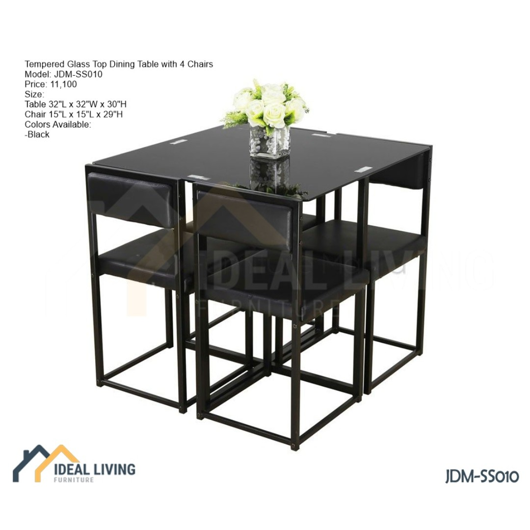Space Saver Tempered Glass Top Dining Table With 4 Chairs Ideal Living Furniture Home Furniture Furniture Fixtures Others On Carousell