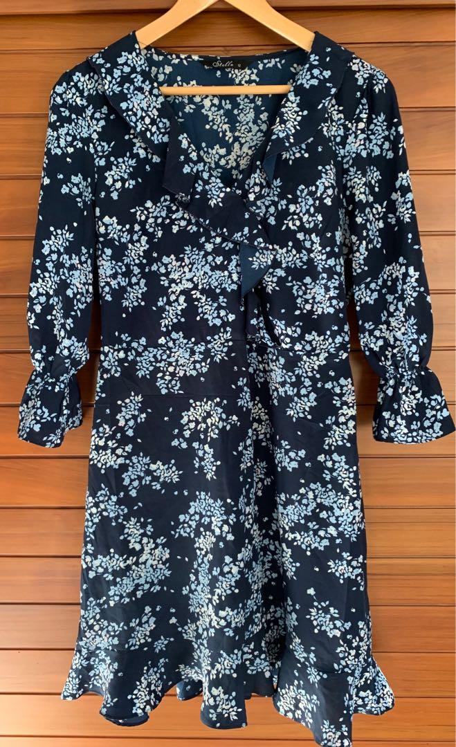 Stella Blue Floral with ruffles dress size 12 excellent cond