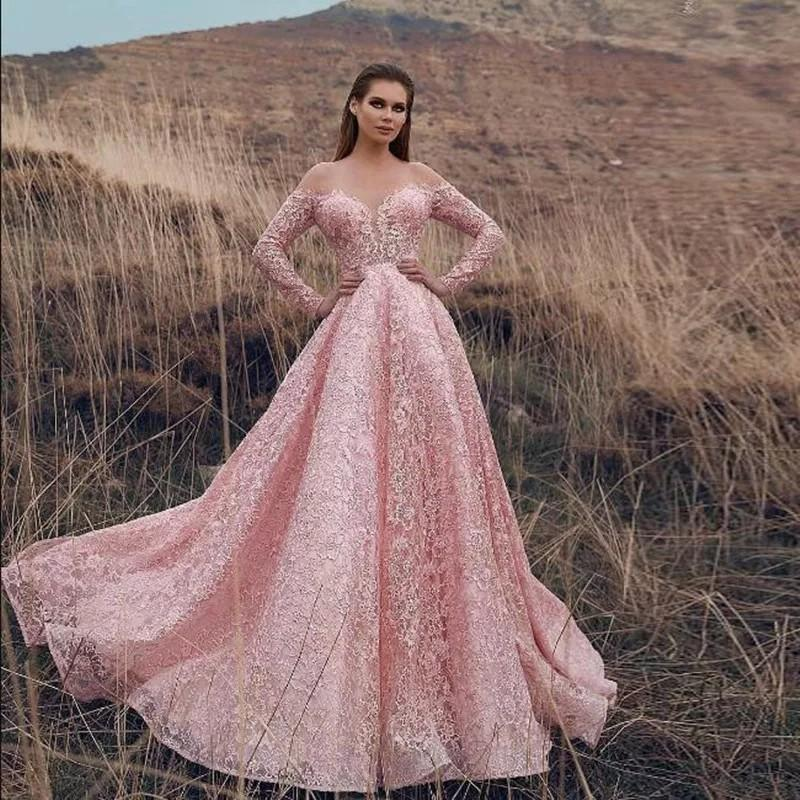 Sweet Pink Evening Party Dresses 2019 Elegant A-Line Off Shoulder Long Sleeve Lace Appliques Dubai Style Long Prom Gowns Custom