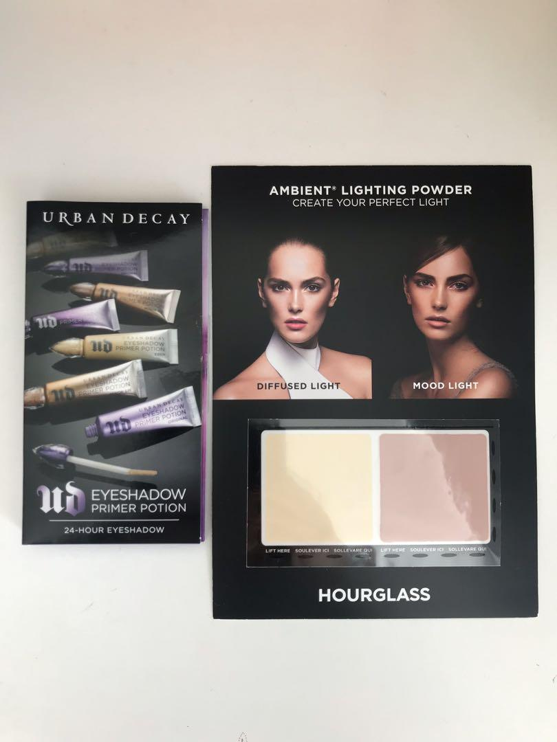 Urban Decay Eyeshadow Primer Potion / Hourglass Ambient Lighting Samples