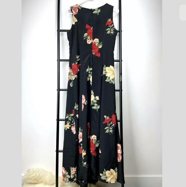 Vintage XS/S black multicolour floral rose midi dress fit flare party cocktail